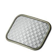 Silver Checkers Belt Buckle (10x6 cm)