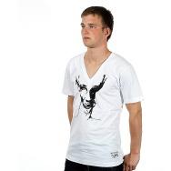 Wagon Repair Loves Duel V- Neck Shirt (White/Black Print)