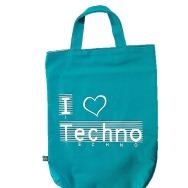 I Love Techno Shopper Bag (Cyan)