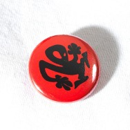 Plastikman Button (Red Back Black Logo)