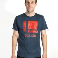 Delsin Label Stamp Shirt (Denim Blue w/ Red Print)