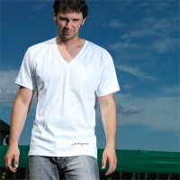 Drumpoet Headphone V-Neck Shirt (White)