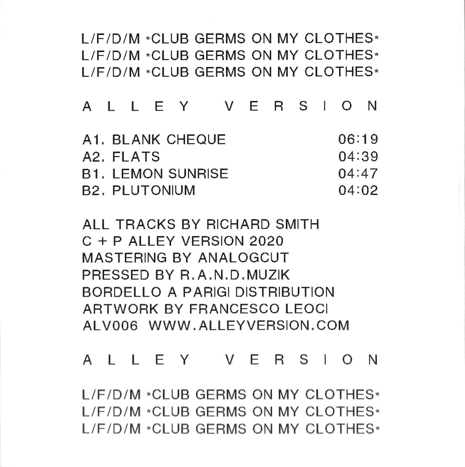 L/F/D/M - CLUB GERMS ON MY CLOTHES EP