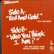 Back View : MF Doom - RED & GOLD / THE HANDS OF DOOM / WHO YOU THINK I A (7 INCH) - Metal Face / MF103-7