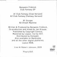 Back View : Benjamin Froehlich - CLUB FANTASY EP - Live at Robert Johnson / Playrjc 065