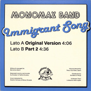 Back View : Monomax Band - IMMIGRANT SONG (7 INCH) - Mattoni Pazzi Studios / MPS001