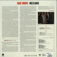 Back View : Miles Davis - BAGS GROOVE (180G LP) - WaxTime / 772267 / 9041157