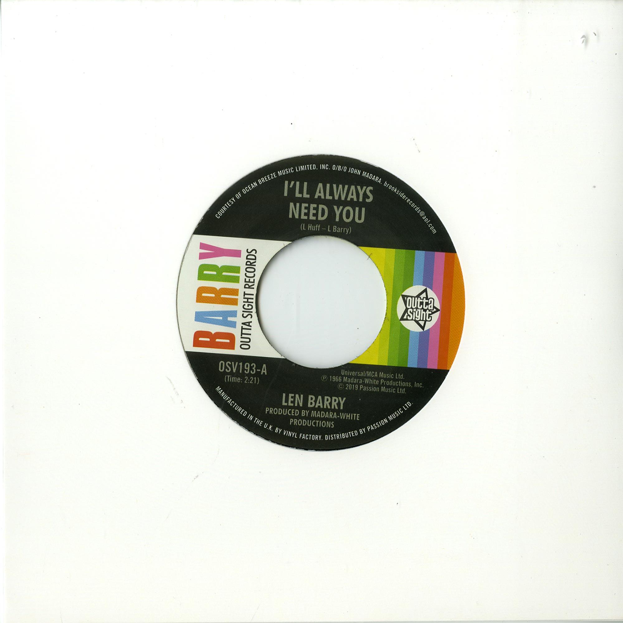 Len Barry - ILL ALWAYS NEED YOU / LOVE LOVE LOVE